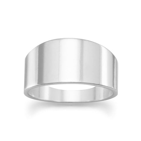 Band Ring Polished Sterling Silver Tapered 9mm Mens Womens Made in the USA