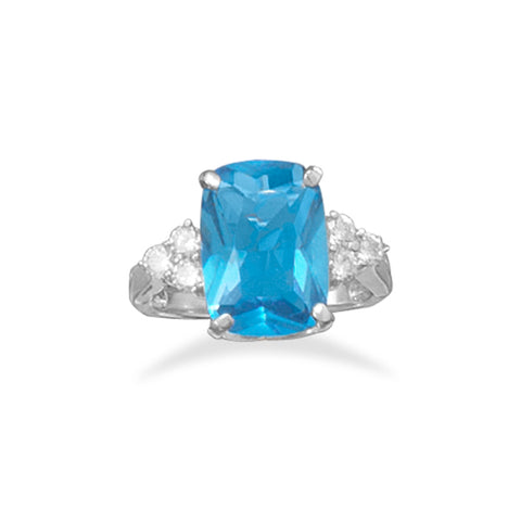 Blue Cubic Zirconia Cocktail Ring with Side Stones
