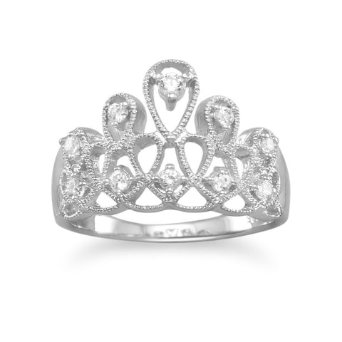 Crown Tiara Ring Design Princess CZ Cubic Zirconia Rhodium Over Sterling Silver