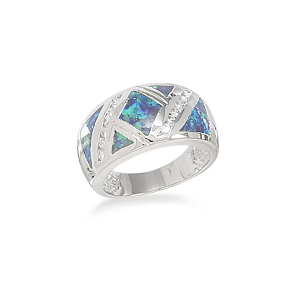 Synthetic Blue Opal Band Ring Cubic Zirconia Accents Sizes 6-9 Sterling Silver