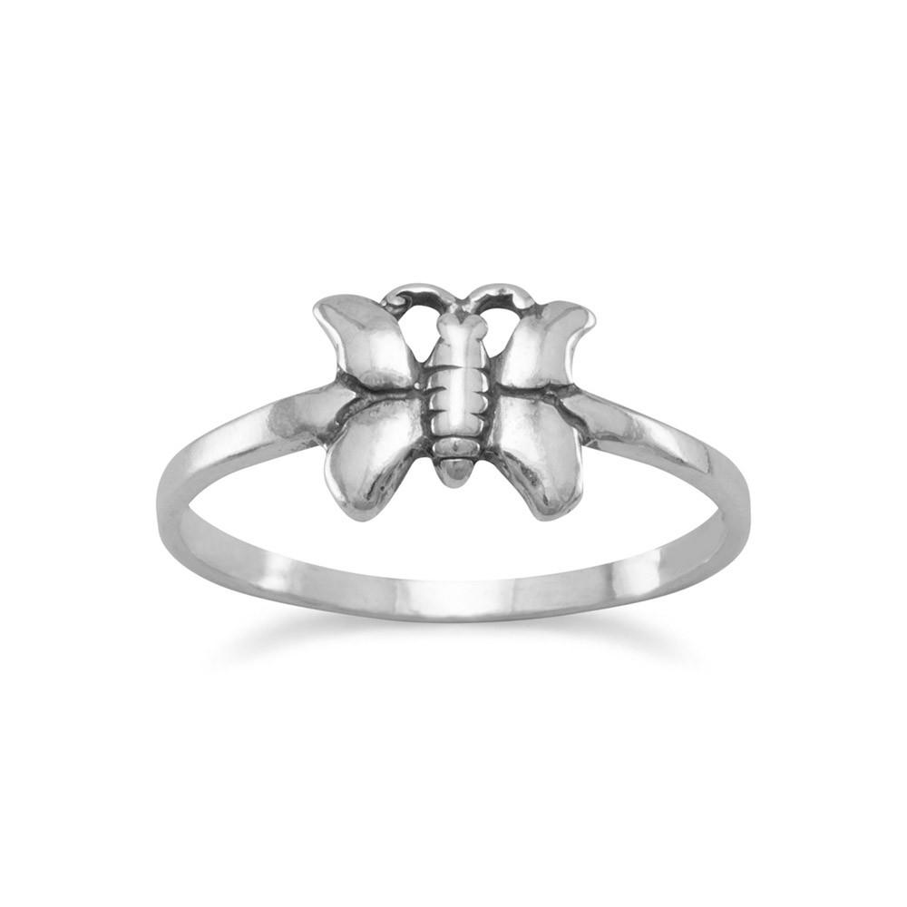 Butterfly Ring Sizes 3-9 Antiqued Sterling Silver