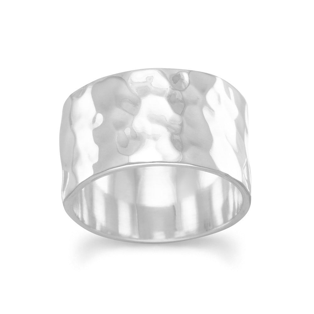 Band Ring Hammered Sterling Silver 11mm Wide Mens or Womens