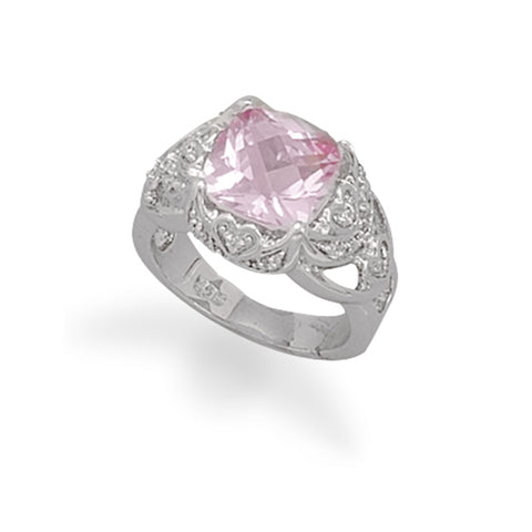 Synthetic Pink Sapphire and Pave Cubic Zirconia Ring Rhodium on Sterling Silver