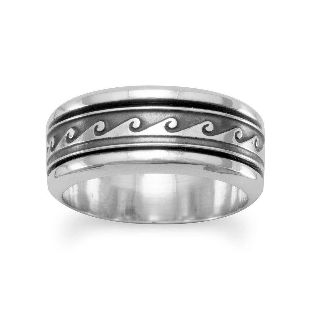 Spin Ring with Wave Design Mens Womens Sizes Antiqued Sterling Silver
