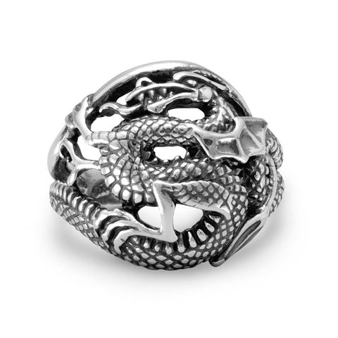 Large Dragon Mens Ring Antiqued Sterling Silver