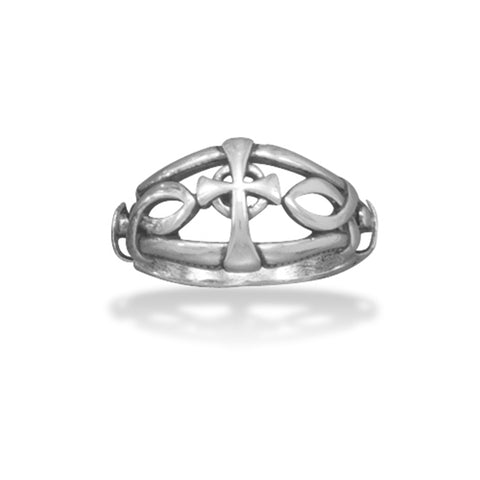Mens or Womens Cross Ring Ichthys Ichthus Christian Fish Sterling Silver