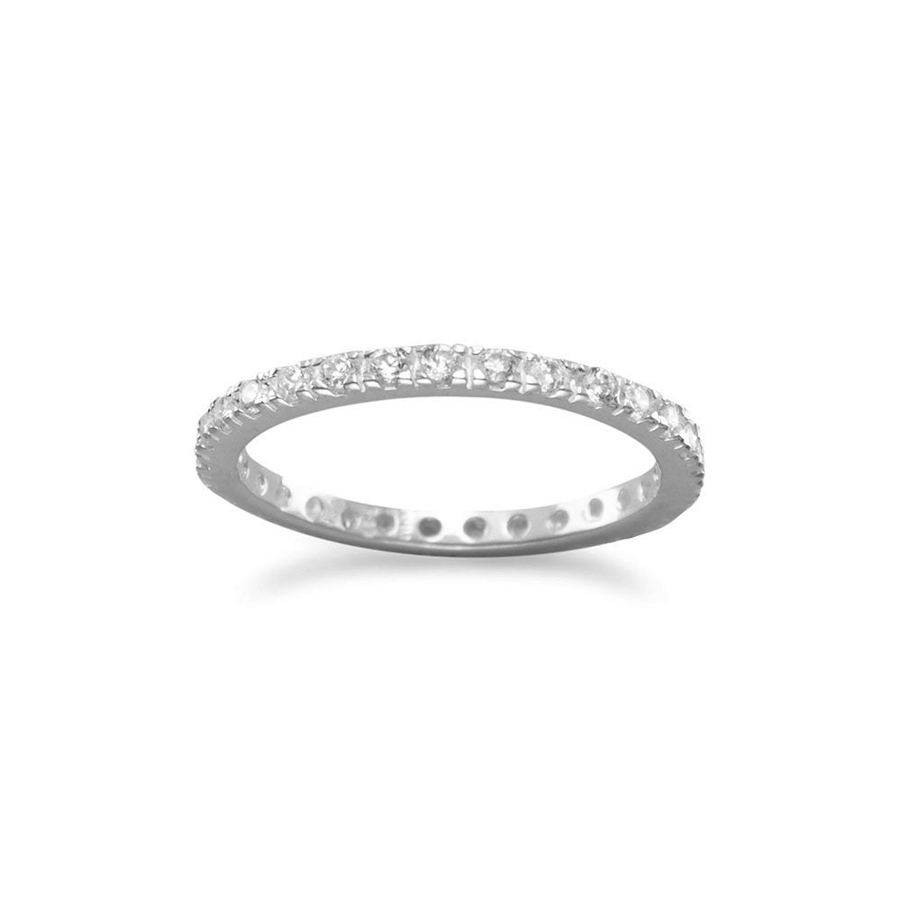Eternity Wedding Band Ring 2mm Cubic Zirconia Sterling Silver