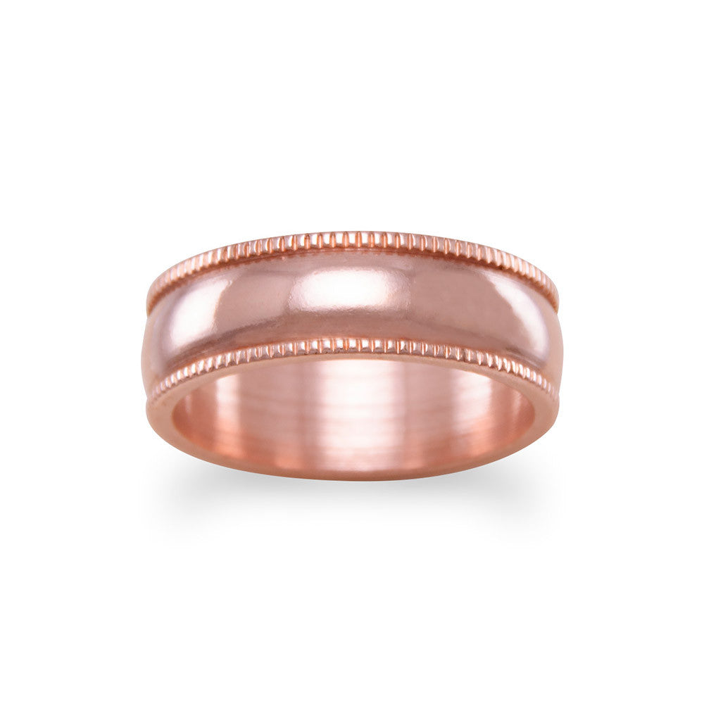 Solid Copper with Milgrain Design Band Ring 6mm  Made in the USA