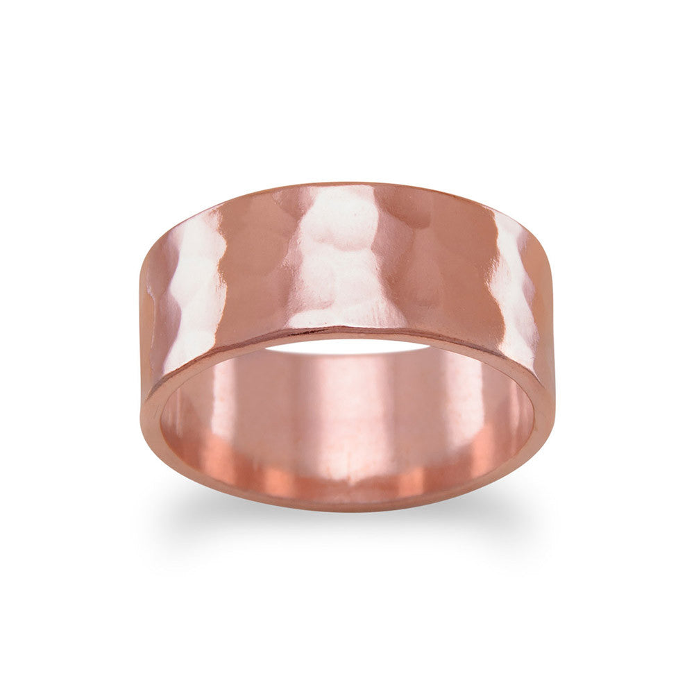 Solid Copper Hammered 8mm Band Ring Made in the USA