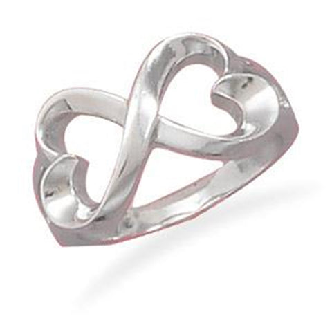 Infinity Hearts Ring Rhodium-plated Sterling Silver - Nontarnish, size 8