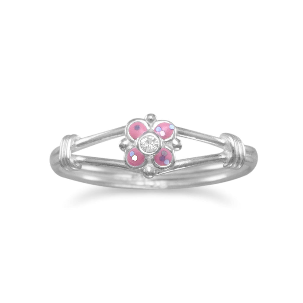 Pink Ring with Glitter Flower and Crystal Sterling Silver