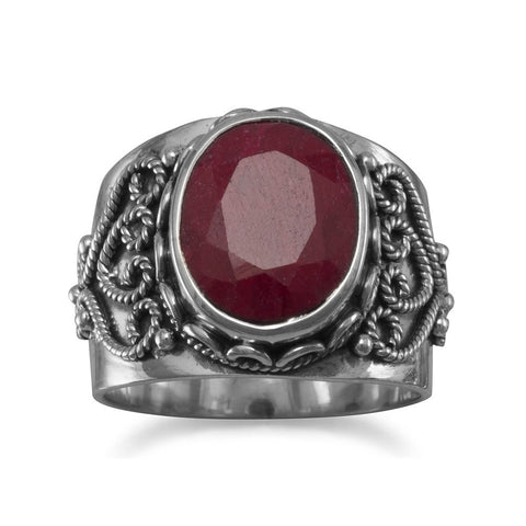 Dyed Red Corundum Ring with Rope Heart Design Sterling Silver