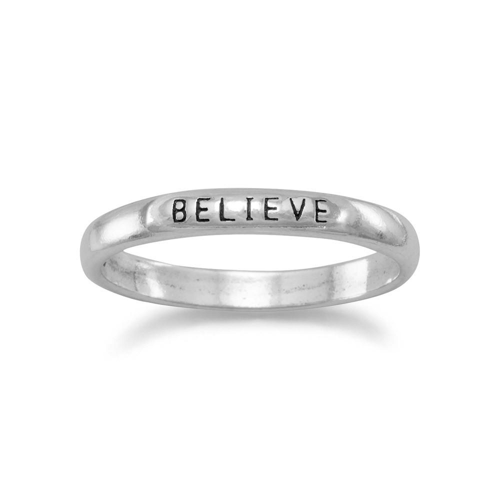 BELIEVE Band Ring Sterling Silver 2.5mm Width