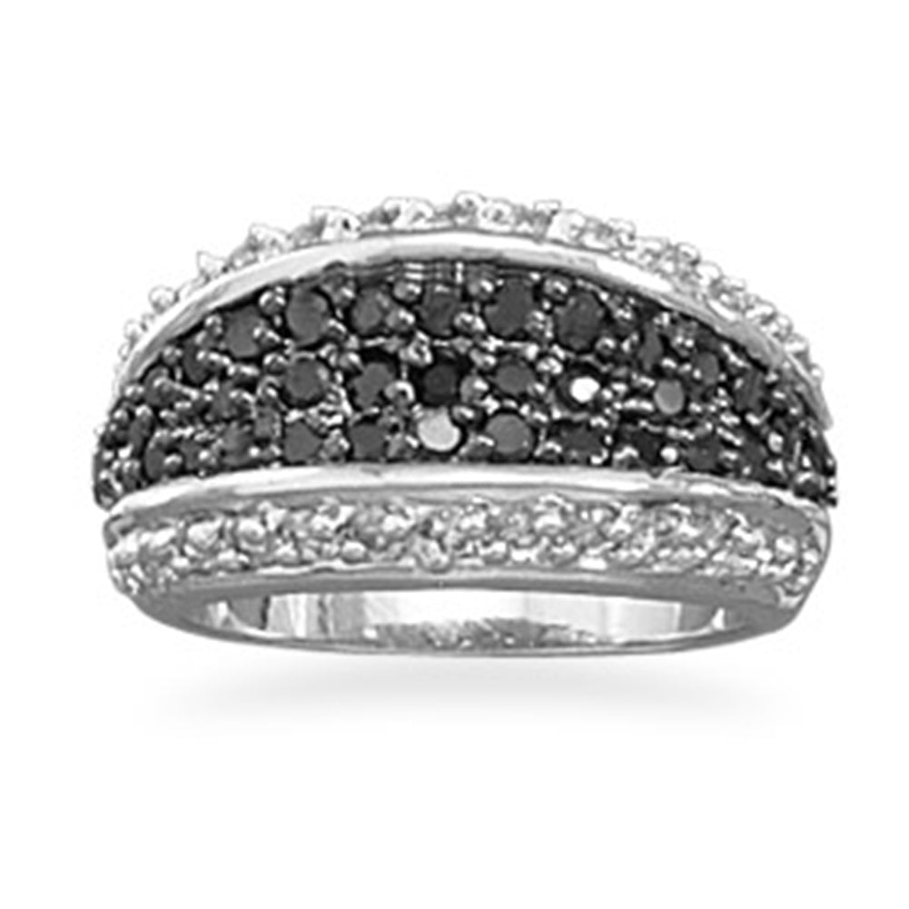 Three Row Ring Black and Clear CZ Rhodium and Sterling Silver