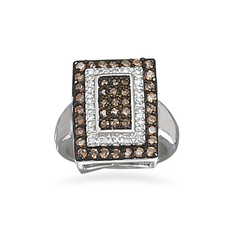 Chocolate and Clear Cubic Zirconia Cocktail Ring Rhodium-plated Sterling Silver