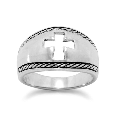 Cross Ring with Sterling Silver Cut Out Design Band Mens Womens Sizes 6 to 13