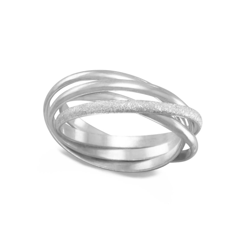 Trinity Three Band Interlocking Ring Polished with One Stardust Sterling Silver