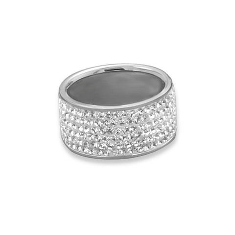 Wide Band Ring Pave Clear Crystals 10.5mm Sterling Silver