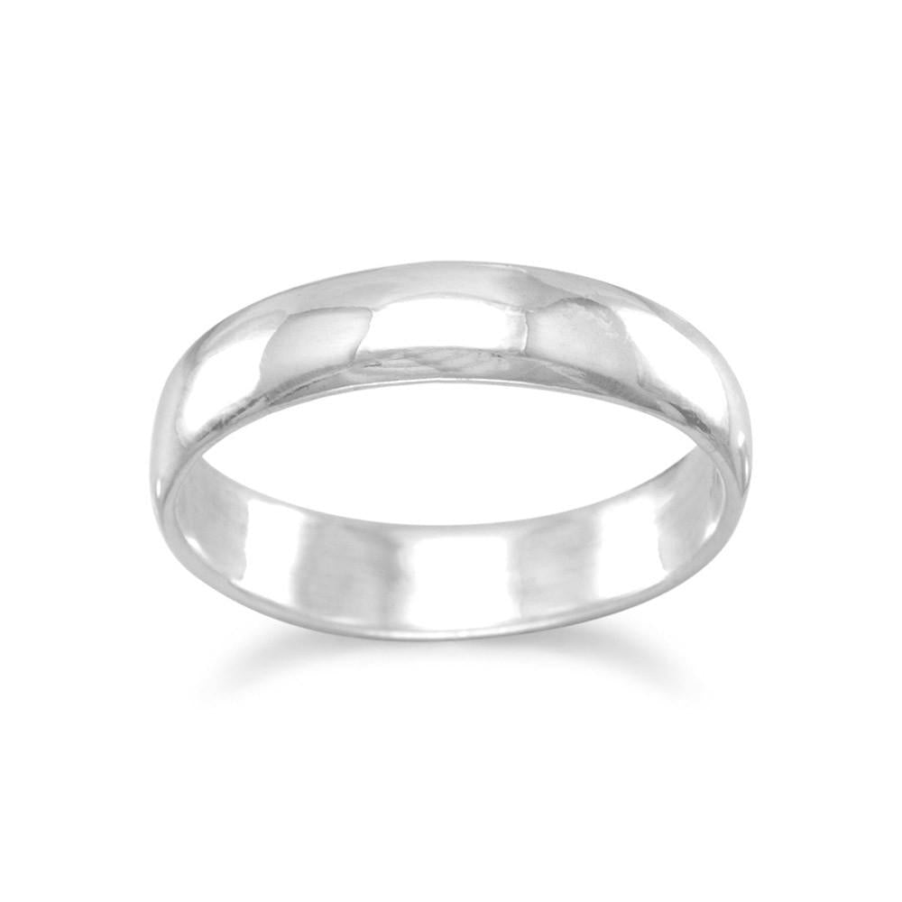 Band Ring Polished Solid Sterling Silver 4mm Mens or Womens