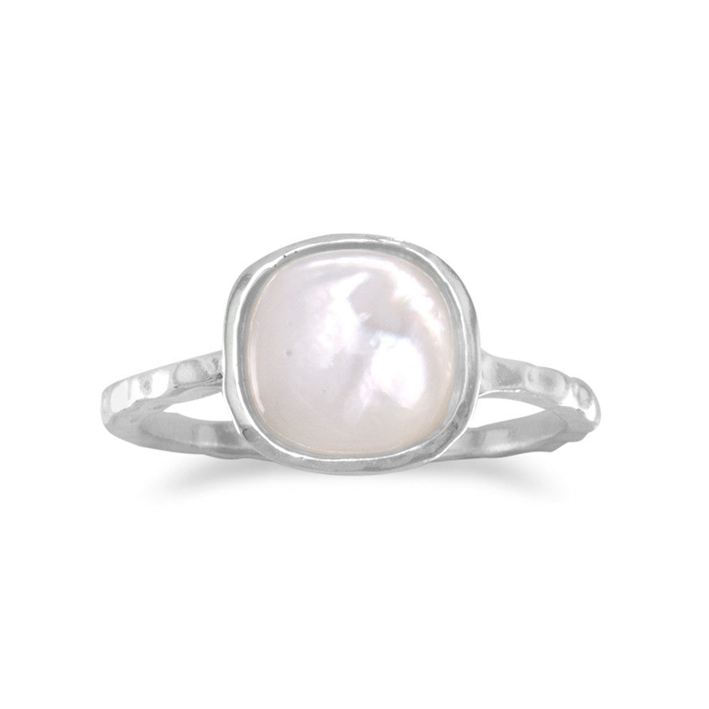 Stackable Ring Mother of Pearl Sterling Silver Textured