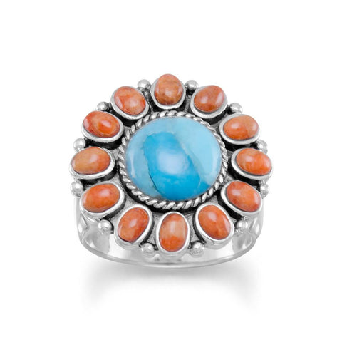 Sterling Silver Reconstituted Turquoise and Coral Flower Sunburst Ring