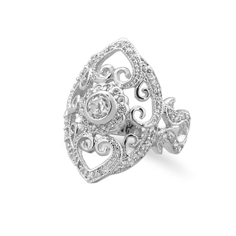 Vintage Filigree Heart and Scroll Design Ring with CZ Rhodium on Sterling Silver
