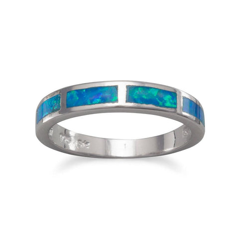 Synthetic Blue Opal Band Ring Inlaid Synthetic Stone Polished Finish 3mm Wide