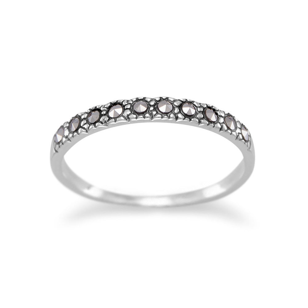 Sterling Silver Stackable Band Ring with Ten Marcasite Stones 2mm Wide