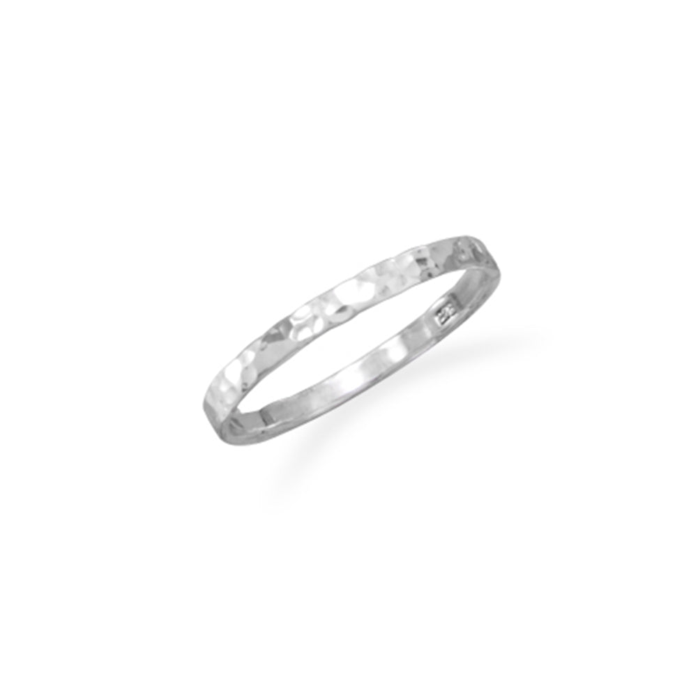 Small Band Ring Hammered Sterling Silver, Sizes 2 to 4