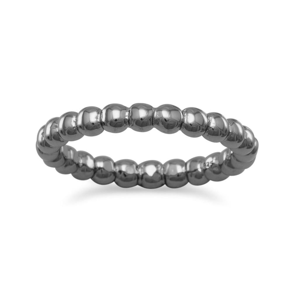 Bead Band Ring with Gunmetal Plated Sterling Silver 3mm Width, Sizes 4 to 9