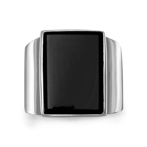 Mens Black Onyx Ring Sterling Silver