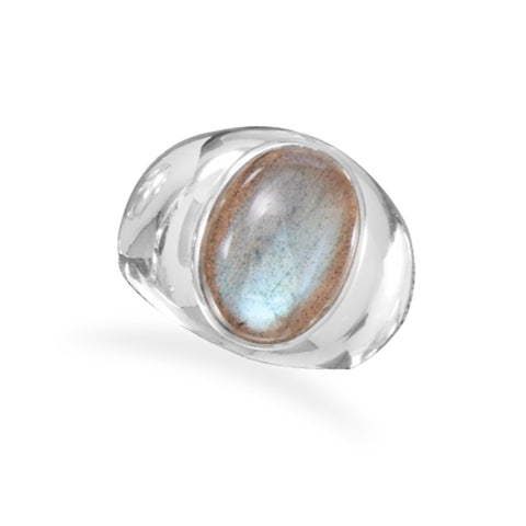 Labradorite Mens Ring Polished Sterling Silver