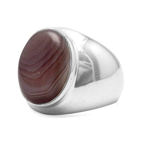 Botswana Agate Mens Ring Polished Sterling Silver