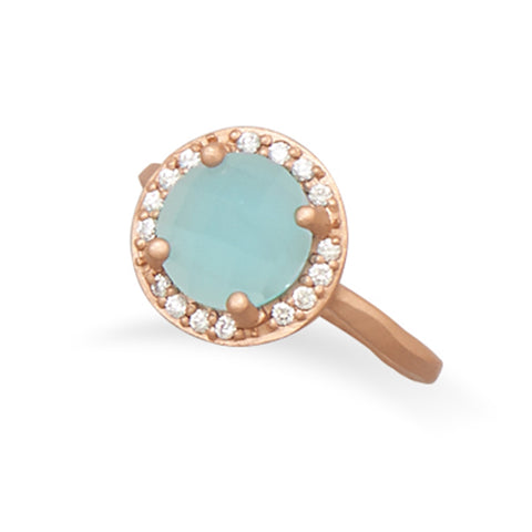 Aqua Blue Ring with Cubic Zirconia Halo Rose Gold-plated Sterling Silver