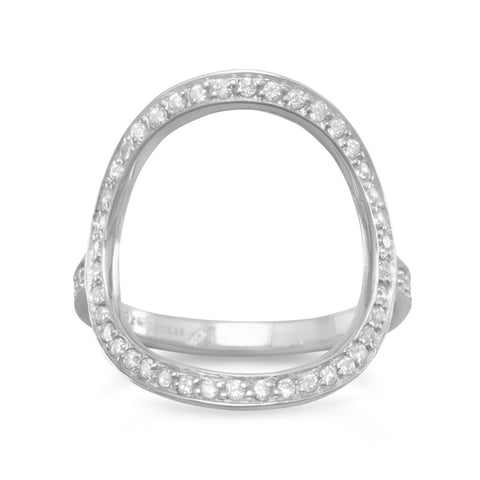 O Circle Ring with Cubic Zirconia Rhodium on Sterling Silver - Nontarnish