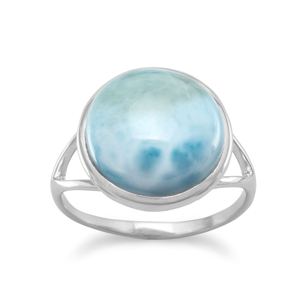 Genuine Larimar Ring Round Split Band Rhodium on Sterling Silver - Nontarnish
