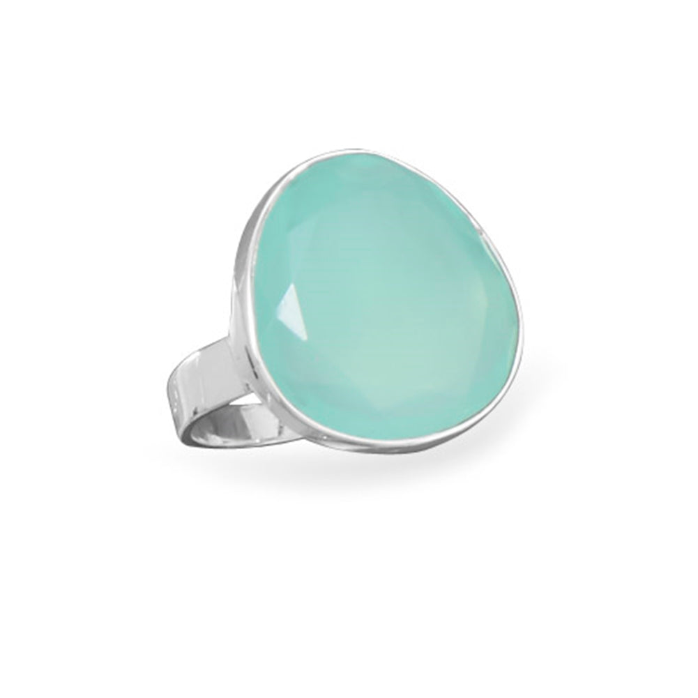 Freeform Faceted Dyed Sea Green Chalcedony Ring Sterling Silver