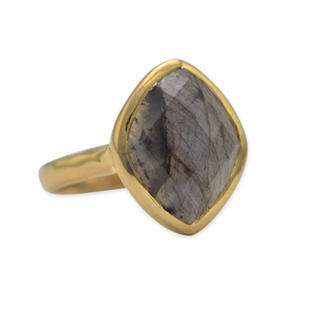 Labradorite Ring Marquise Diamond-Shape Gold-plated Sterling Silver