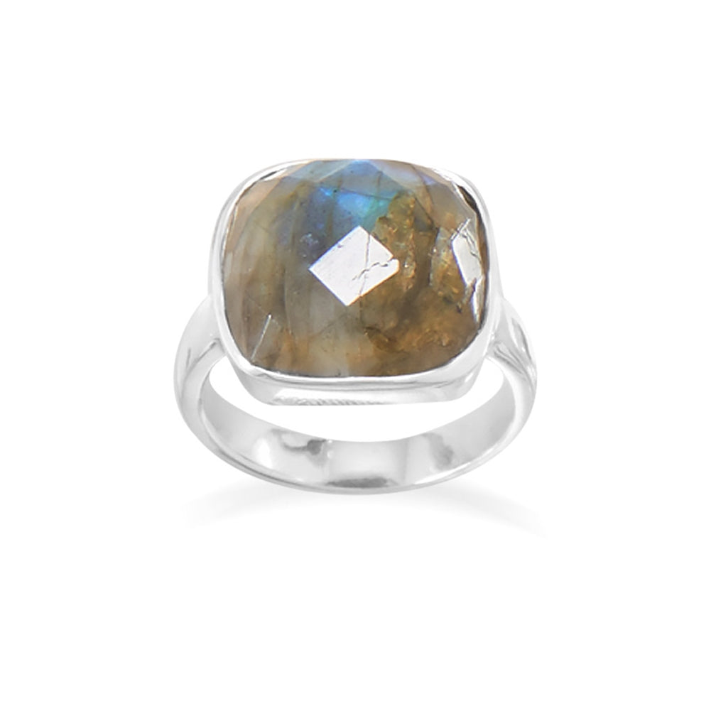 Labradorite Ring with Checkerboard Cut Soft Square Sterling Silver