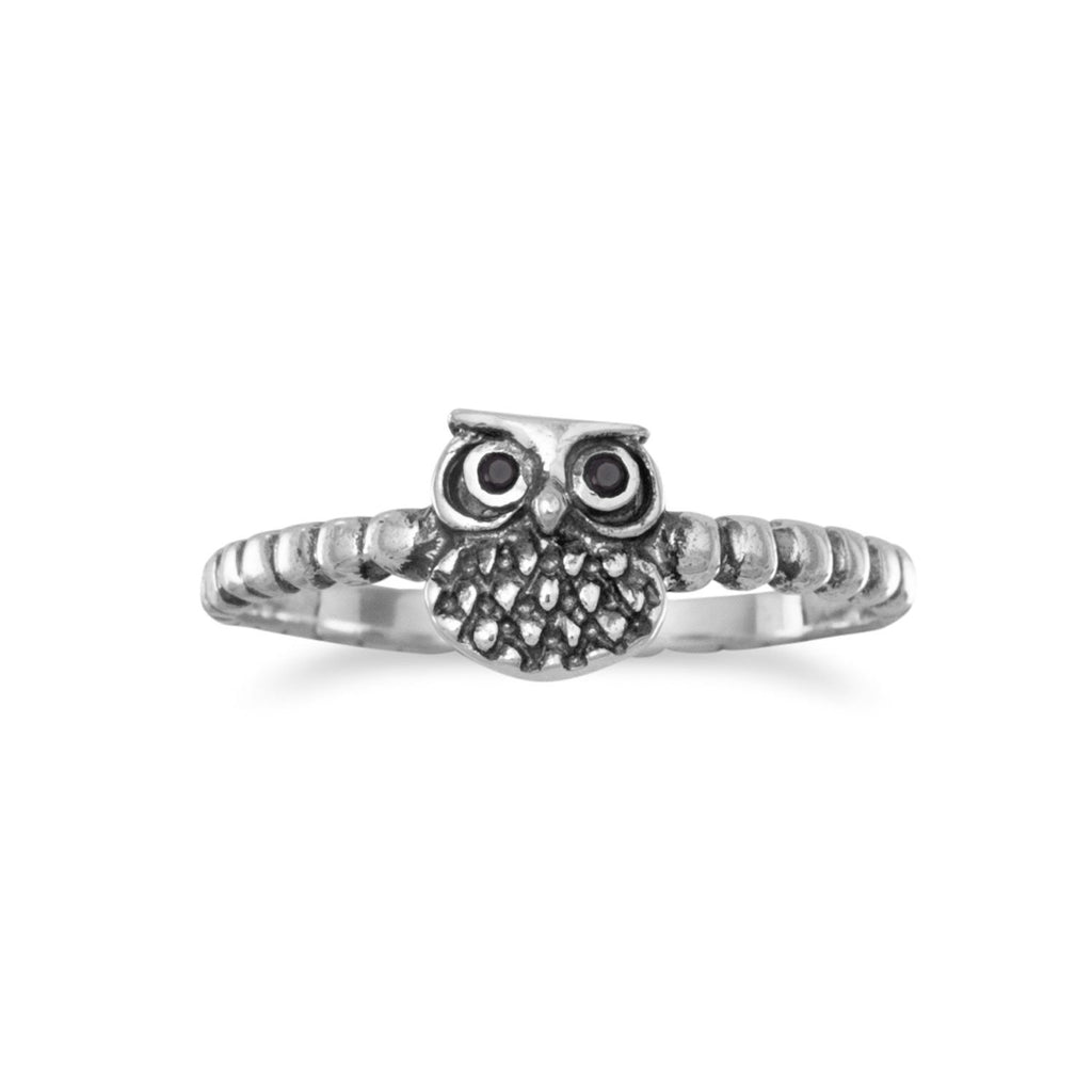 Cute Owl Ring with Black Cubic Zirconia Eyes Beaded Band Sterling Silver