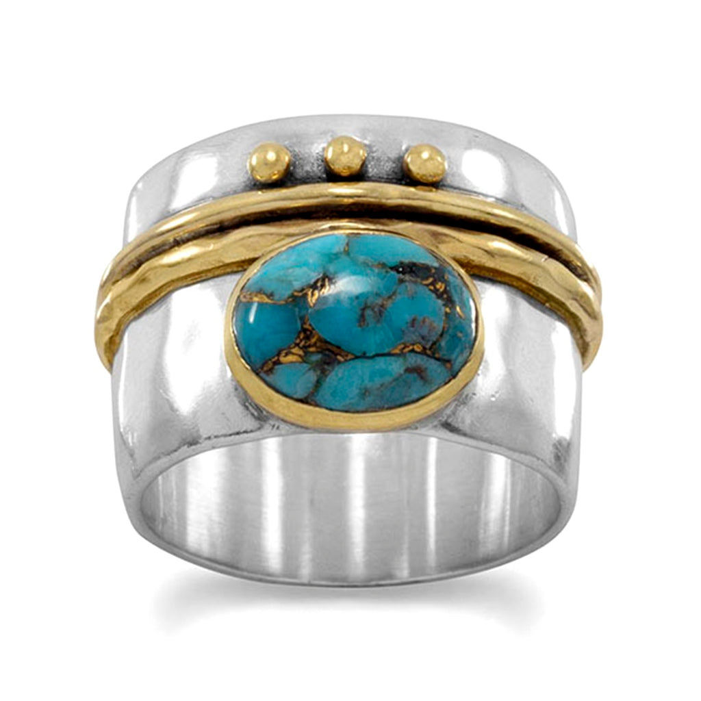 Copper-infused Turquoise Ring Two-tone Gold-plated Sterling Silver