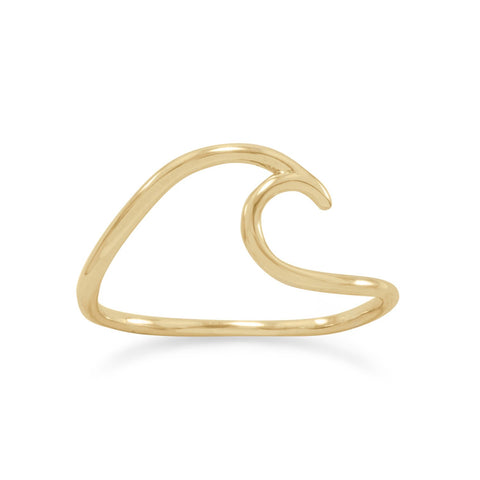 Wave Shape Wire Ring Gold-plated Sterling Silver