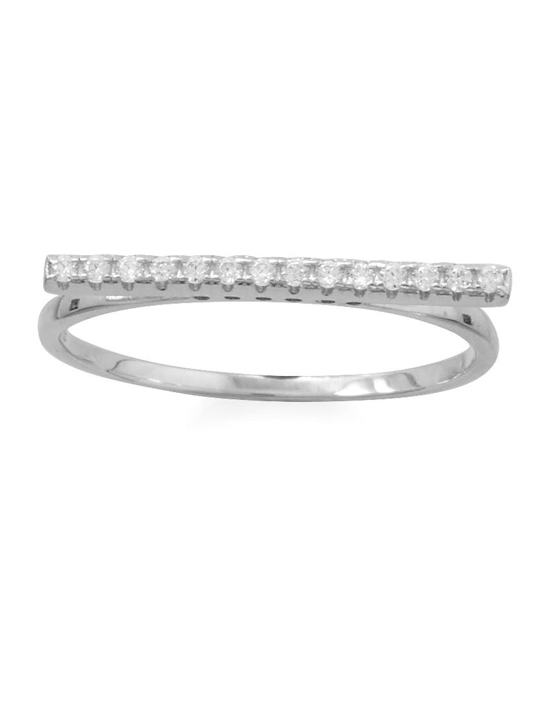 Single Bar Ring with Sparkling Cubic Zirconia Rhodium-plated Sterling Silver