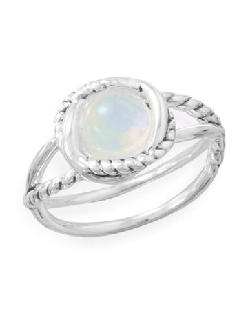 Round Rainbow Moonstone Ring with Cross Cross Band Rope Design Sterling Silver