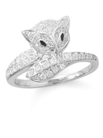 Cute Fox Wrap Ring with 63 Sparkling Cubic Zirconia Rhodium on Sterling Silver