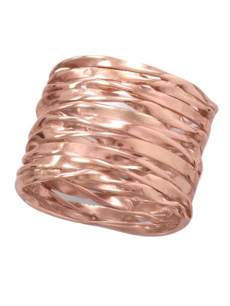 Handmade Rose Gold-plated Sterling Silver Stacked Wire Wrap Band Ring