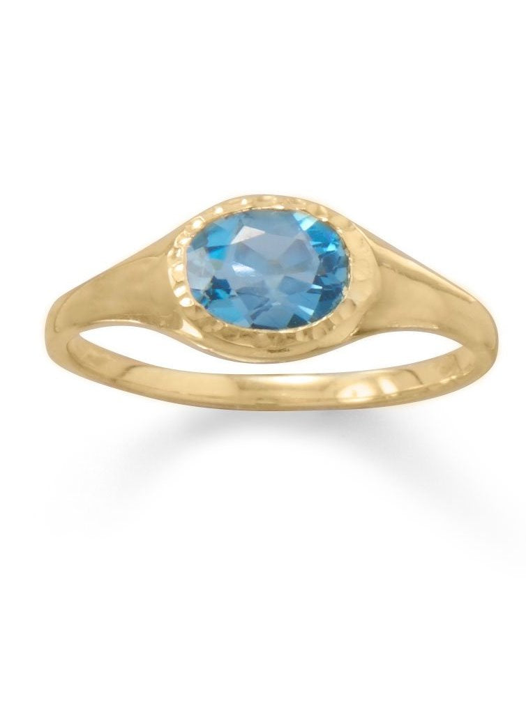Swiss Blue Topaz Ring Gold-plated Sterling Silver