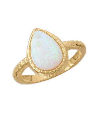 Synthetic White Opal Ring Pear-shape Gold-plate Sterling Silver