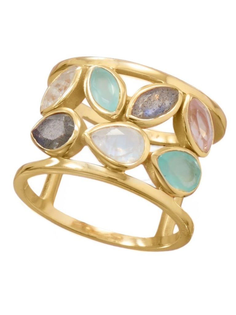 Gold-plated Genuine Ring Rose Quartz, Rainbow Moonstone, Labradorite, Chalcedony