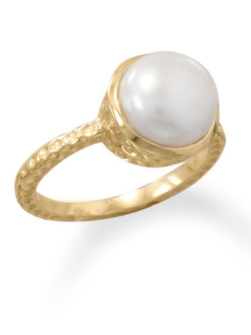 Gold-plated 9.5-10mm White Cultured Freshwater Pearl Ring Hammered Band